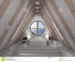 chambre grenier intérieur de chambre à coucher de grenier illustration stock