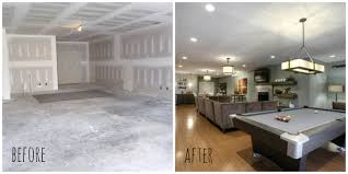 Ideas For Finished Basement Unfinished Basement Before And After Tourcloud Finished Ideas