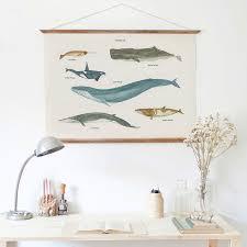 modern fresh coastal aquatic whale painting wooden poster