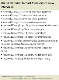 resume objective exles for service crew fast food sle resume top 8 fast food crew resume sles in
