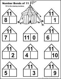 number bonds to 11 free math worksheets printable numbers