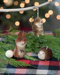 woodland animal christmas ornaments set of 3 natural sisal