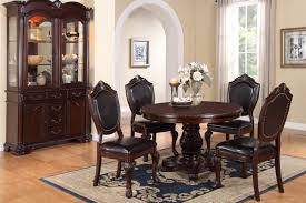 poundex f1395 dark cherry dining table and leatherette chairs 5 pc set