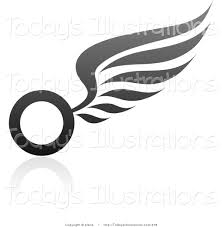 clipart of a black and gray wing logo design or application icon