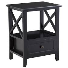 black side table with shelf gymax black nightstand end side table shelf storage drawer room