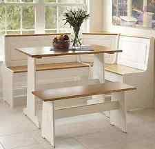linon ardmore breakfast corner nook table set in white ebay