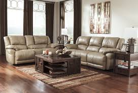 Leather Reclining Living Room Sets Buy Furniture Lenoris Caramel Reclining Living Room Set