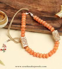 orange beaded necklace images Short orange beaded necklace south india jewels jpg