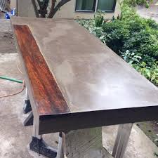 my work 6 u0027 long concrete dining table with inlaid mexican