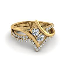2 engagement rings 2 bypass engagement ring with wedding band in 14k yellow