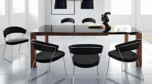 Modern Black Leather Dining Chairs Dining Room Surprising Modern Black And White Dining Room
