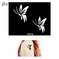 1 small indian henna stencil flying butterfly design