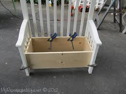 Bench Toybox Upcycled Repurposed Crib Into Toy Box Bench Toy Boxes