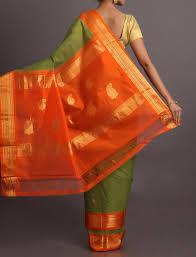 gadwal green handloom sari with orange designer pallu