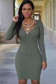 fitted dresses army green sleeve cross back bodycon sweater dress