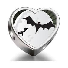 buy 925 sterling silver charms beads two halloween bats fly moon