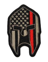 American Flag Morale Patch Thin Red Line Spartan Helmet Tactical Patch For Firefighters