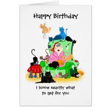 cat lady birthday greeting cards zazzle co uk