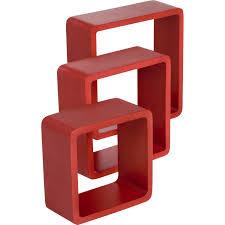 etagere pour vernis etagère 3 cubes rouge rouge l 28 x p 28 l 24 x p 24 l 21 x p