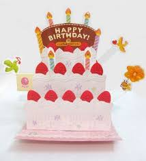 birthday cake out candles lights melody pop up greeting