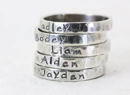 engraved stackable rings personalized stacking rings sterling silver stackable rings