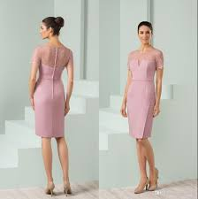 modern mother of the bride dresses tea length with sleeves knee length pink mother bride dresses lace jewel neck short