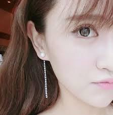 back stud earrings pearl and rhinestone tassel back stud ear cuffs lilyfair jewelry