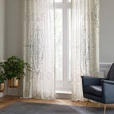 Beige And White Curtains Sheer Cotton Distressed Medallion Curtains Set Of 2 Dusty Blue