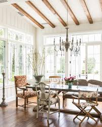 Dining Room Ceiling Gray Candle Chandelier With Trestle Dining Table Cottage