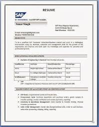 Sap Fico Sample Resumes by Sample Resume For Freshers Sap Mm Resume Templates