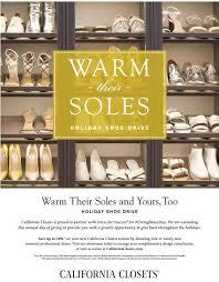 california closets warm their soles holiday shoe drive dress for