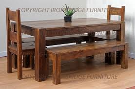 rustic dining table with bench trestle farmhouse traditional 7 ft