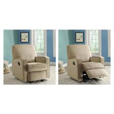 Fabric Swivel Chairs by Pri Sutton Tan Fabric Swivel Recliner Ds 912 006 051 The Home Depot