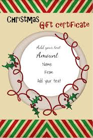Free Printable Gift Certificate Template Word Christmas Gift Certificate Templates