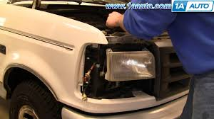 how to install replace headlight and bulb ford f150 f250 f350 92