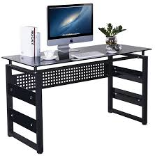 Metal And Glass Computer Desk Amazon Com Merax Computer Table With Glass Top And Metal Legs
