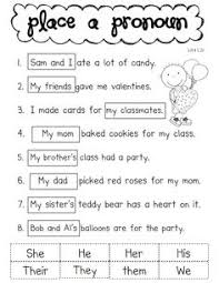 pronoun activity for the literacy center first grade pinterest