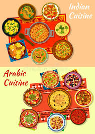 cuisine indienne traditionnelle icône traditionnelle de plats de cuisine indienne et arabe