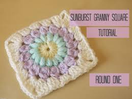 how to crochet sunburst granny square tutorial round one bella