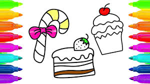 drawing animation and colours for kids how to draw candy cake and