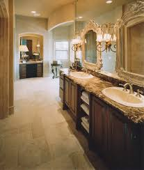 emperador dark marble threshold bathroom traditional with archway