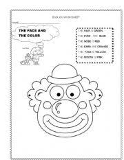 esl kids worksheets clown s face
