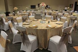 online linen rentals chagne crushed iridescent satin tablecloths and sashes gold