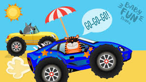monster truck race videos monster truck racing at the beach animal cartoons for kids