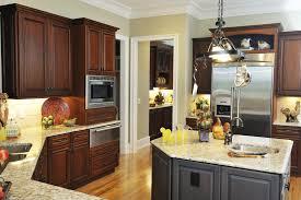 Black Kitchen Cabinet Paint Kitchen Dark Wood Kitchen Cabinets With Floors Light Countertops