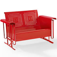 Metal Porch Glider Amazon Com Outdoor Loveseat Glider In Red Finish Patio Lawn
