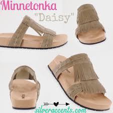 minnetonka suede daisy fringe cork bottom sandals u2013 silver accents