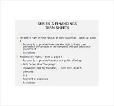 Project Finance Term Sheet Exle by 13 Term Sheet Template Free Word Pdf Documents Free