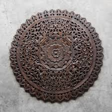 mandala wood carving wall panel decor siam sawadee