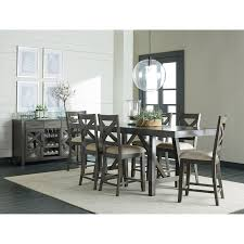 counter height dining room table with trestle base by standard